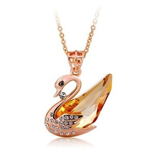 Austrian Crystal Champagne Swan Pendant Necklace