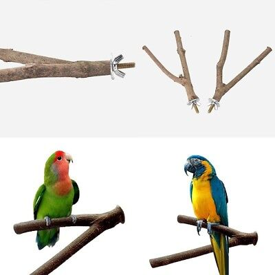 1Pc Pet Parrot Raw Fork Wood Stand Rack Toy Hamster Branch Perches For Bird Cage