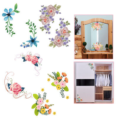Exquisite Flowers Toilet Fridge Wardrobe Wall Stickers Decals Mural Home Decor (Decor Toilet)