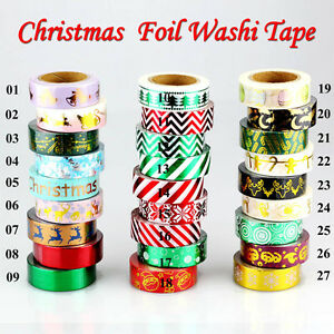 Christmas-Foil-Washi-Tape-Set-Scrapbooking-DIY-Sticker-decorative-Tapes-10m-Roll