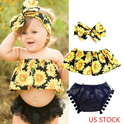Casual Clothes For Girls (3pc new baby girl clothes summer Crop top +short pants kids girls casual)