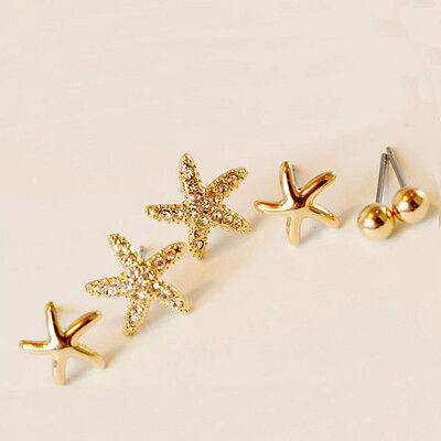 3 Pair/set Charm Starfish Shaped Round Ball Women Ear Stud Earrings Jewelry Gift