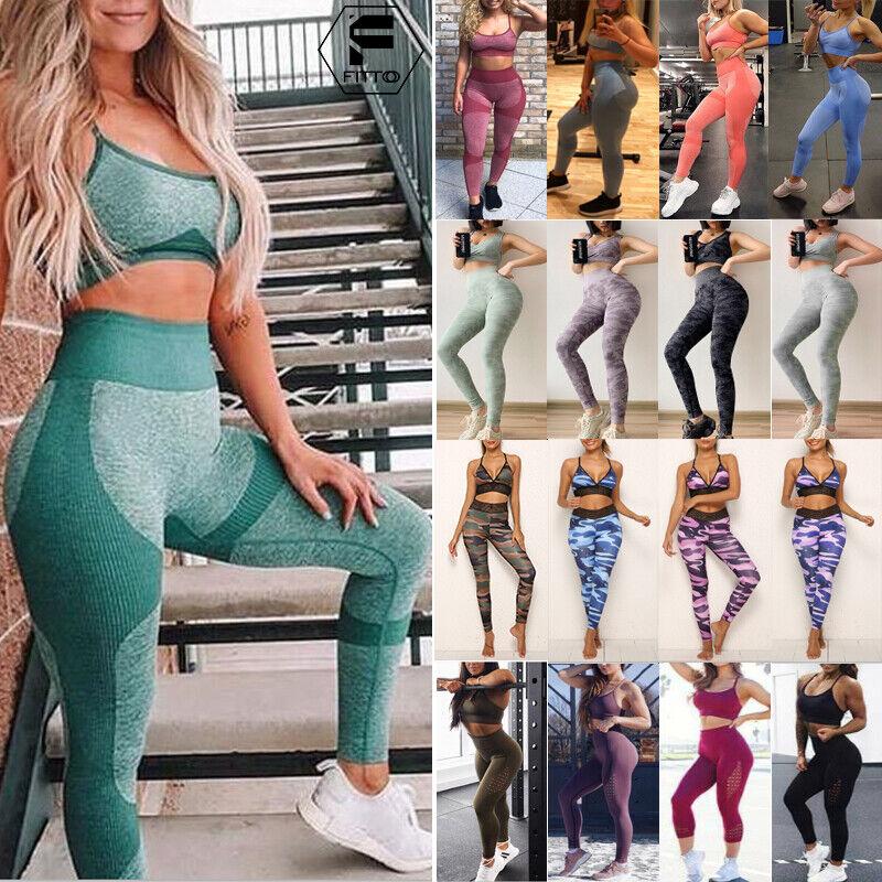 Women/'s Sports YOGA Workout Gym Fitness Leggings Pants Jumpsuit  Sports Bra Top