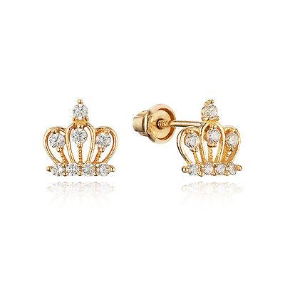 14k Yellow Gold Baby Crown Children Screw Back Baby Girls Earrings