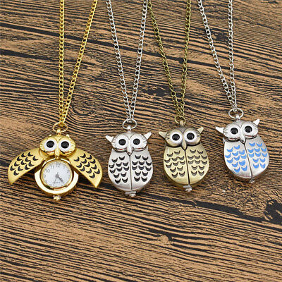 Necklace Clock Pendant (Vintage Owl Clock Necklace Retro Pocket Watch Pendant Women Mens Jewelry)
