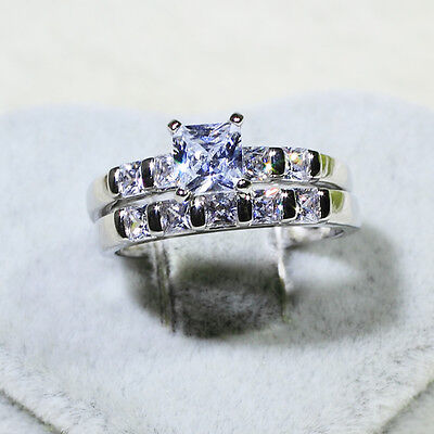 Gold Wedding Band Set - 18K White Gold Filled CZ Women Engagement Wedding Band Ring Set R5357 Size 5-10