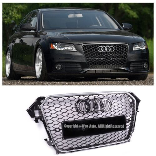 For 13-15 Audi A4 / S4 RS4 Style Honeycomb Mesh Black Chrome Front Bum