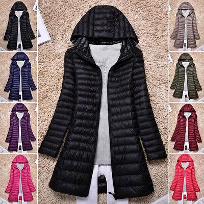 Women's Ultralight Long Down Jacket Puffer Coat Hooded Parka