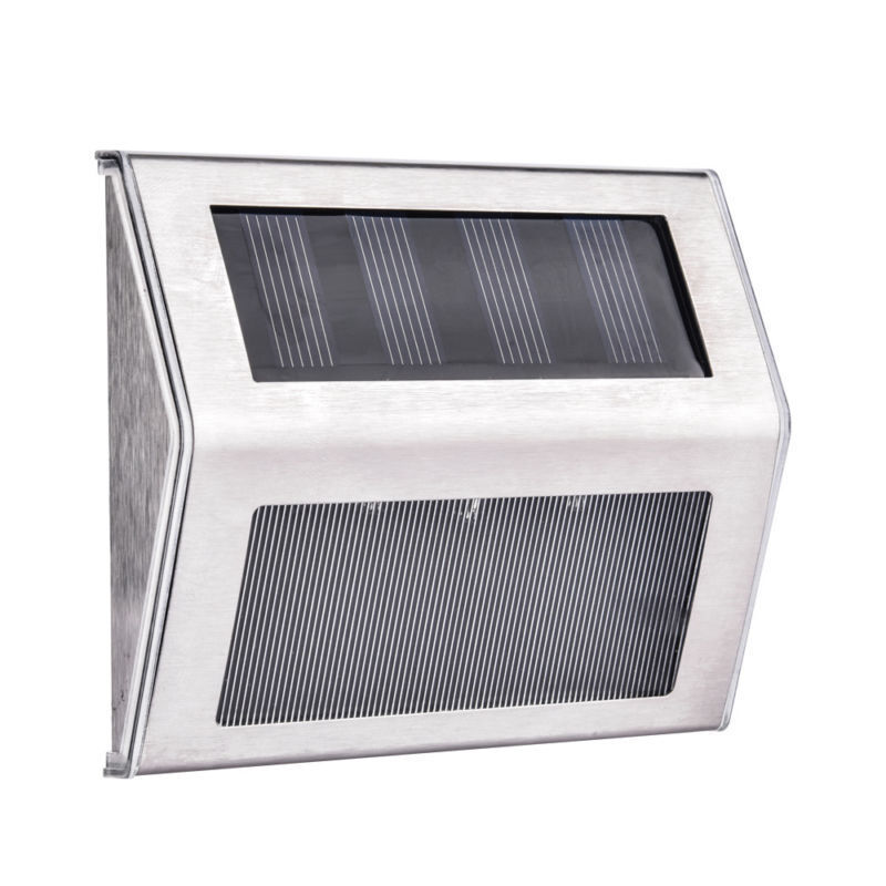 Solar Powered Light  Stainless Steel Wall Mount Step Lamp Fo