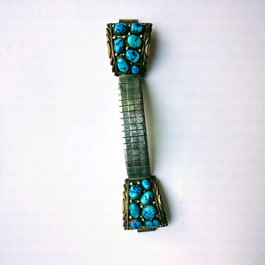 Sterling Silver Navajo Bezel Set Turquoise Watch Band Signed RB
