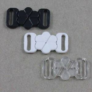 2 BIKINI CLIPS HOOK & SNAP PLASTIC CLASPS 10mm STRAP BRA ...