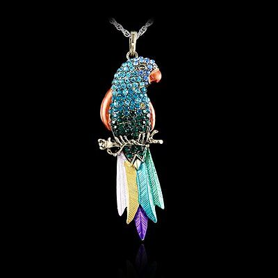 Colorful Animal Parrot Full Crystal Rhinestone Pendant Necklace Sweater Chain