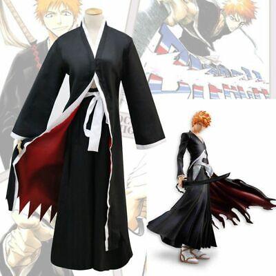 Bleach Kurosaki Ichigo Robe Cloak Coat Japanese Anime Halloween Cosplay -
