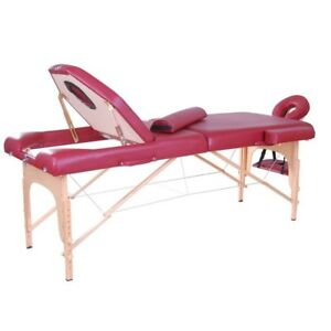Table Lit de Massage Pliante Portable Rouge