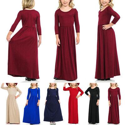 Muslim Kids Girls Abaya Burka Arab Dress Prayer Kaftan Robe Long Maxi Dress Hot