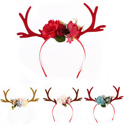 Women Girl Kid Cute Flower Deer Antler Costume Ear Party Hairband Head Band XMAS