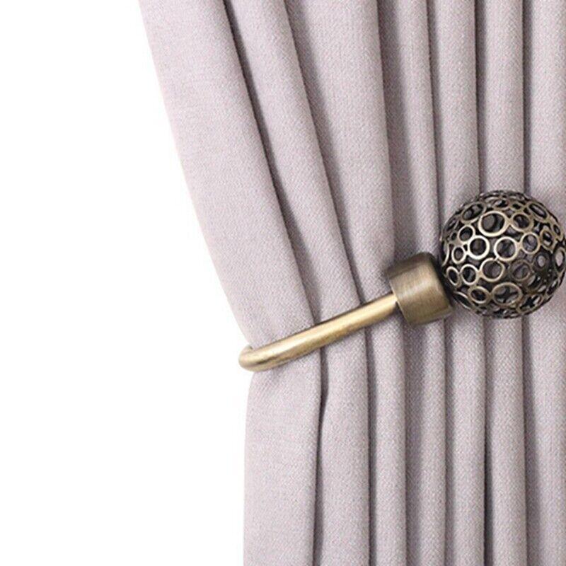 Curtain Holdbacks Retro Hollow Curtain Buckle Metal Wall Mounted Curtain Hook Q