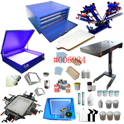 Silk Screen Printing Device 4 Color 1 Station With Flash Dryerdry Cabinet Etc.