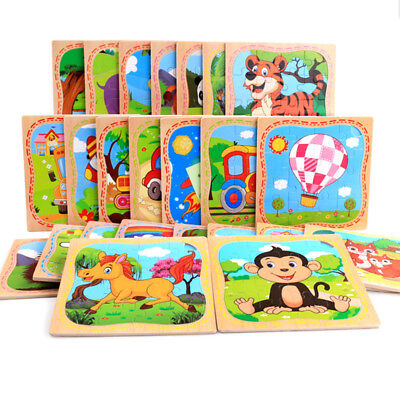 16PCS Wooden Cute Animals Baby Kids Puzzle Learning Educational Toy - Wooden Animals