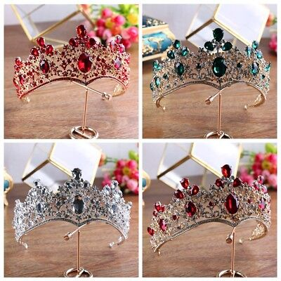 8cm High Luxury Crystal Wedding Party Pageant Prom Tiara Crown - 6 Colors