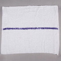 "16"" x 19"" Blue Striped 32 oz. 100% Cotton Bar Towel - 12/Pack"