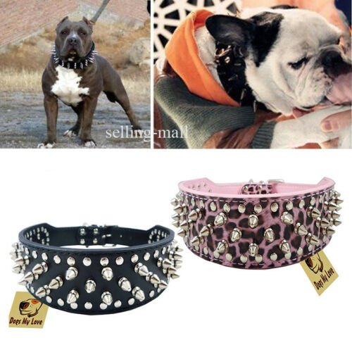 Leather Collar Sharp Spiked Studded PU for Large Dog Pet Pit