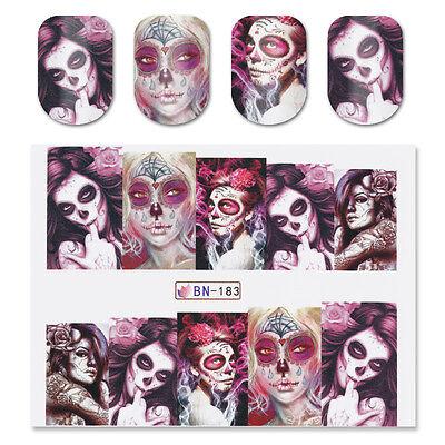 2x Nail Art Water Decal Stickers Sexy Skull Halloween Manicure Decoration - Nail Art X Halloween