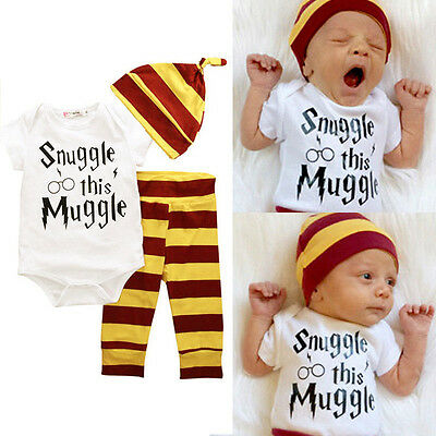 3PCS Set Newborn Toddler Baby Boys Harry Potter Hogwarts Romper Pants Outfits - Harry Potter Outfits