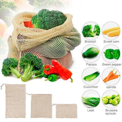 Reusable Cotton Mesh Fruit Bag  Drawstring Grocery Fruit Storage Shopping Bags - Fruit Bag