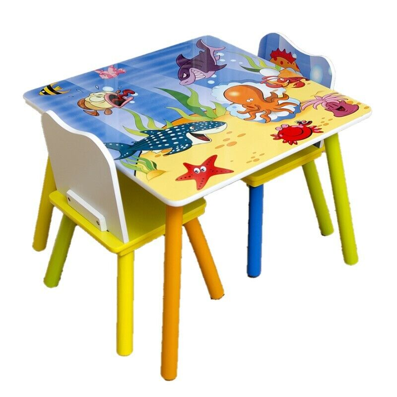 Kids Table and 2 Chairs For Toddler Baby Gift Desk Furniture Cartoon Sniper A+ 4