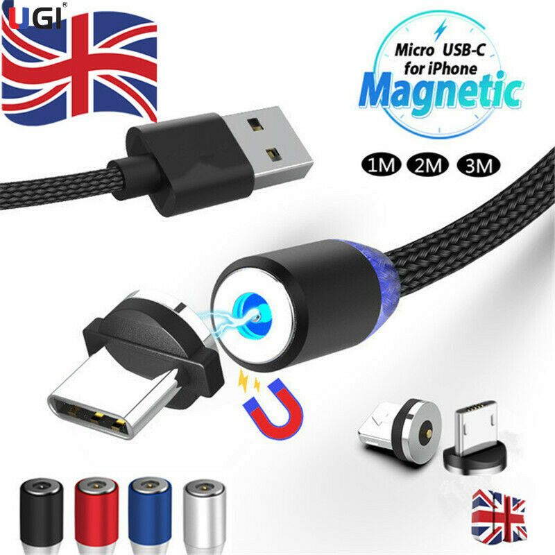 Details about UK 1~3M 360° Round Magnetic Charger Adapter IOSMicroType C Fast Charging Cable