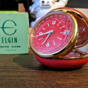 Vintage Red Elgin Travel Alarm - Luminous no. 8332 NEW IN BOX