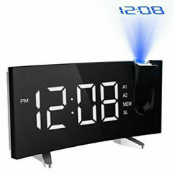 5'' LED Curved Projection Alarm Clock FM Radio 12/24H Timer SNOOZE Dual New