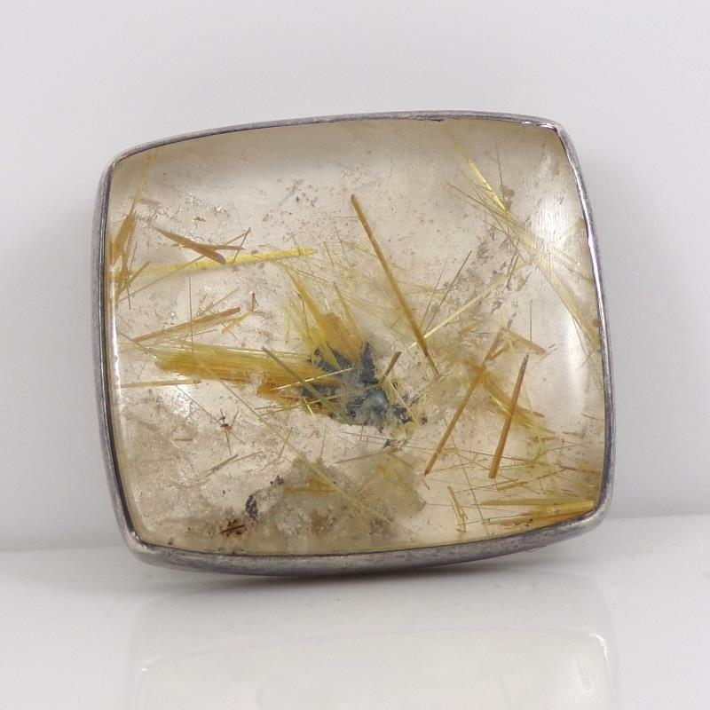 Modernist Artisan Cheri Epstein Sterling Silver Tourmalated Quartz Pendant LFJ5