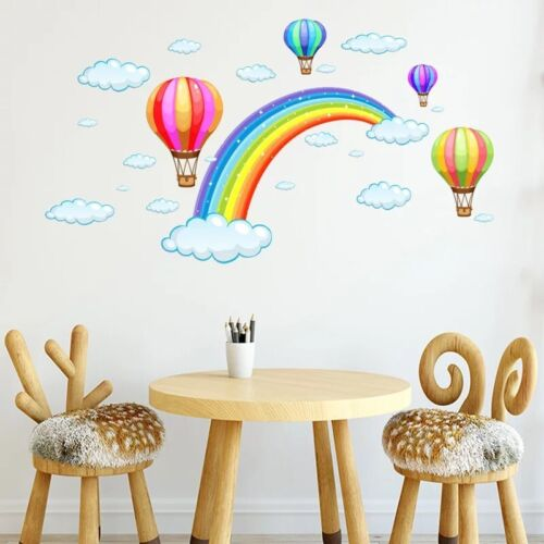 Rainbow & Clouds & Air Balloons Wall Decal Stickers Kids Room Nursery Decor