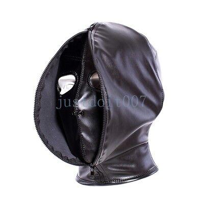 Full Head Zipper Eyes Nostril Opening Black Leather Bondage Hood Cosplay Mask Gf
