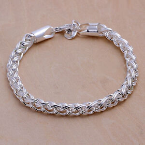 hot! wholesale Sterling solid silver fashion chain bangle bracelet +box LFSB070