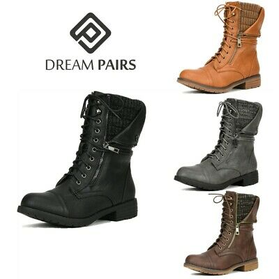 DREAM PAIRS Women Mid Calf Lace Up Combat Boots Ladies Zippe