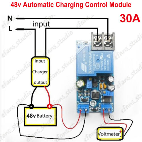 DC 48V Automatic Battery Charging Controller Module Protection 30A Relay Board