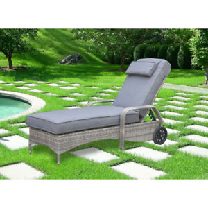 Elba Contemporary Patio Chaise Lounge with Back Wheels - Grey