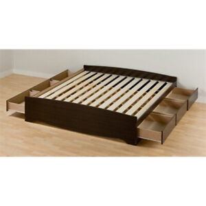King sized platform bed with drawers
