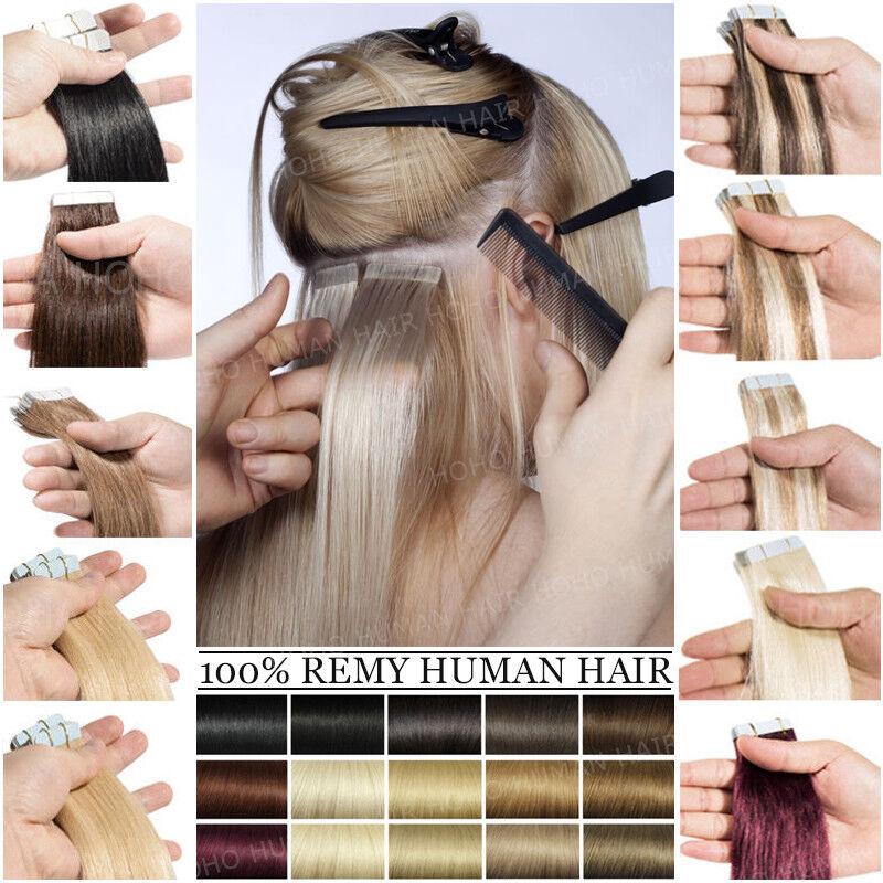 8A Deutsch Tape In 100% Remy Echthaar Extensions Haarverlängerung Haar Tressen t