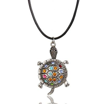 Fashion Women Leather Animal Crystal Tortoise Turtle Pendant Necklace - Turtle Necklaces