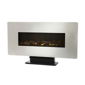 Wall Mount Electric Fireplace Stainless Steel
