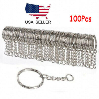 100x Key Ring Keychain W/ Link Chain Blanks Silver Tone Key Holder Split Rings