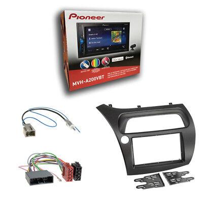 Pioneer MVH-A200VBT Radio + Honda Civic VIII ab 2006 2-DIN Blende + ISO-Adapter