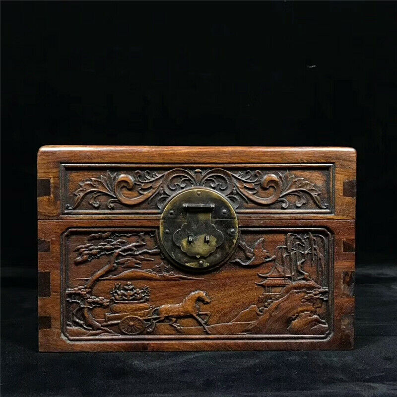 Collection Chinese Rosewood hand-carved landscape animal pattern Treasure box