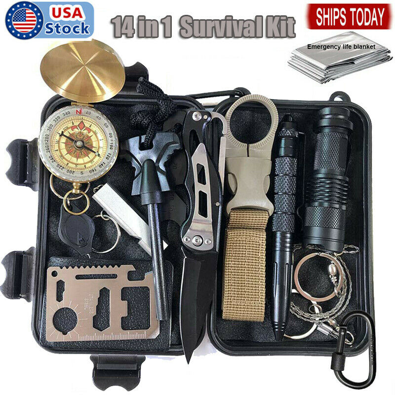 Outdoor Emergency Survival Gear Kit 14 in 1 Camping Hunting