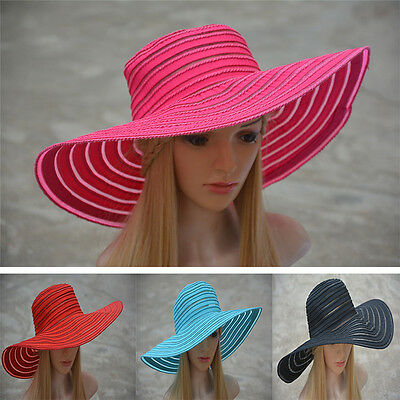 Wholesale ! Womens Church Kentucky Derby Wide Brim Stripe Wedding Sun Hat A269 - Wholesale Derby Hats