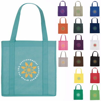 100 Personalized Reusable Grocery Tote Bags with Your Custom Message or Logo